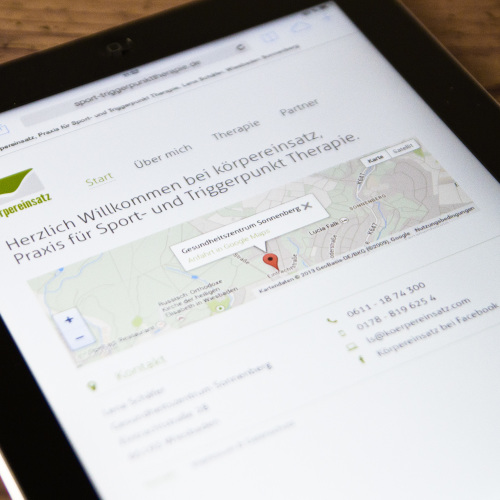 Körpereinsatz Webdesign Tablet